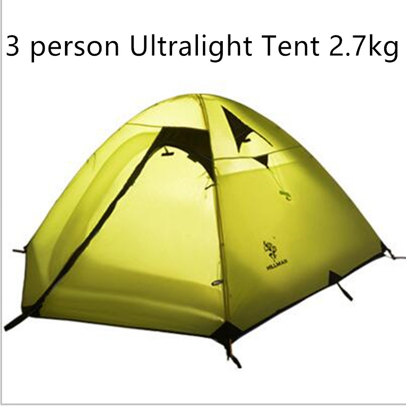3 Person Outdoor Camping Tent Ultralight Double Layers Aluminum Rod Camping Tent 3-4 Season With Mat 2.7Kg Fishing Travel Tents hillman 3 4 person double layer ultralight silicon tent 2d silicone coated nylon waterproof aluminum rod outdoor camping tent