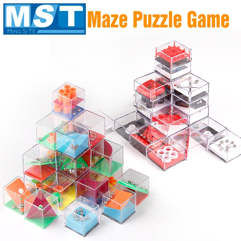 24PCS Mini 3D Maze Puzzle Toy Plastic Handheld Brain Teaser Beads IQ Cube Games Early Learning Educational Toys For Children