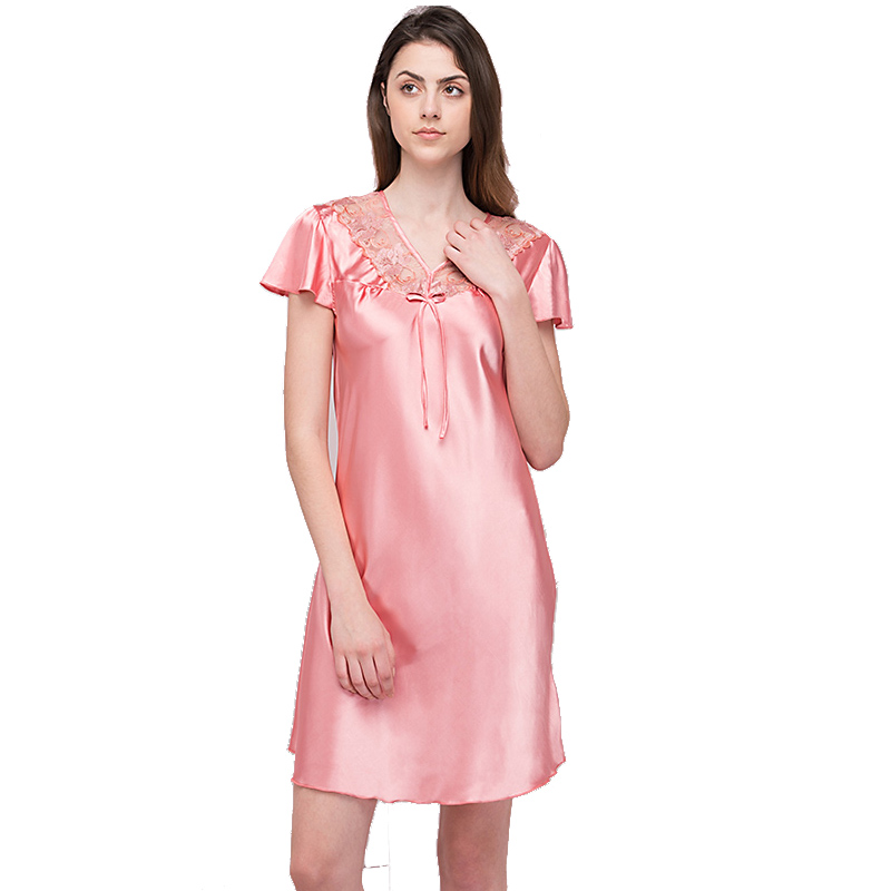 Sweetly Summer New Hot pink Lace Dress Silk Women Loose Night Dress Female Dreamlike V Neck Short   Nightgown   Vestido   Sleepshirts