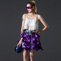 [EAM] 2018 customize new spring high waist solid color purple bandage printed half-body skirt women fashion tide AZU11514S