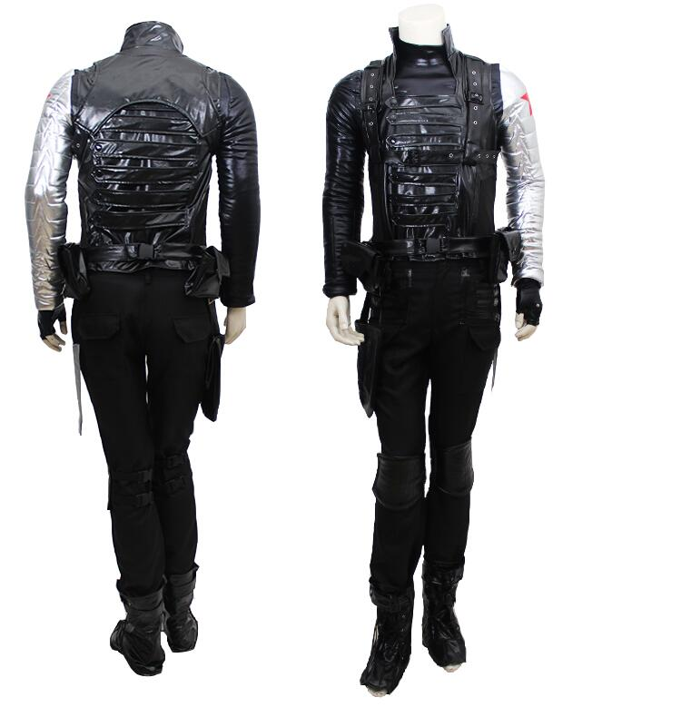 Hot Movie Captain America Winter Soldier Bucky Barnes Outfit Party Uniform Suit Anime Cosplay Costume Any Size Free Shipping