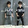 Новые дети мальчики комплектов одежды спортивные костюмы одежда для мальчика пружин 2 шт. хлопка с длинным толстовка + брюки