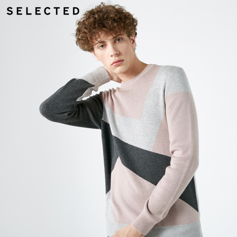 SELECTED Sweater Knit Round-Neck Men's Trend Color Stylish Spliced Matching S-418324534