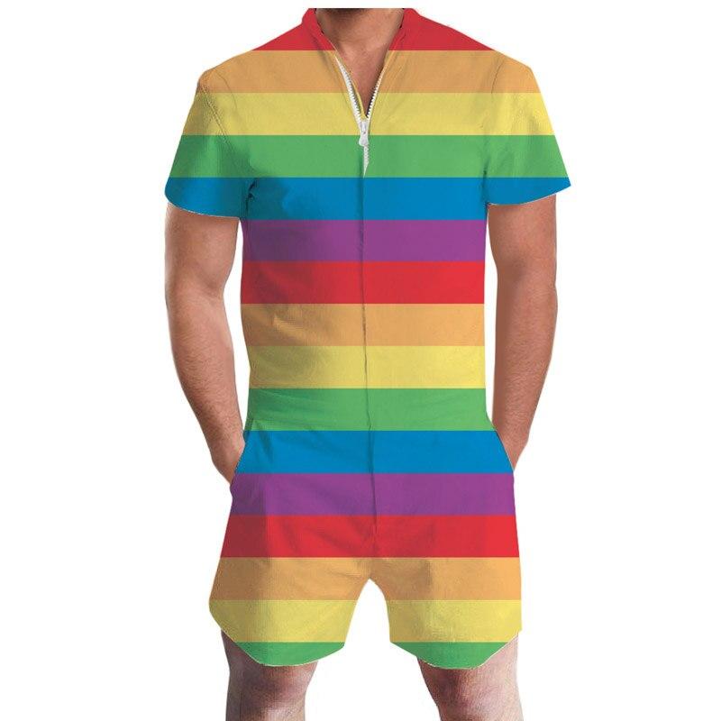 2f507d953d6 New Pride Romper Summer Drink Beer Rainbow Men Romper 3D Graphic Romper  Casual Zipper Jumpsuit Overalls