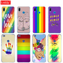 Silicone Cover Phone Case For Huawei P20 P7 P8 P9 P10 Lite Plus Pro 2017 p smart 2018 Gay Lesbian LGBT Rainbow Flag(China)