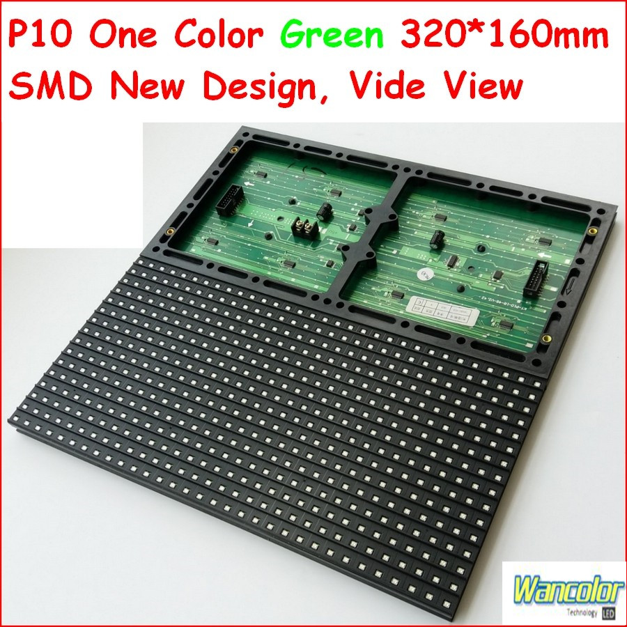 Free Shipping Wholesale Price High Brightness SMD P10 Semi-outdoor LED Message Sign Green Color P10 SMD Led Module 32*16 Dot