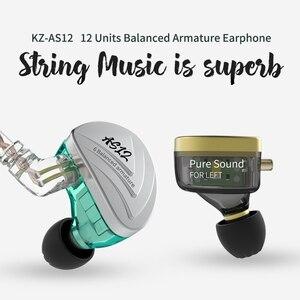 Image 4 - Внутриканальные наушники KZ AS12, Hi Fi, 12ba, сбалансированные арматурные наушники вкладыши, IEM с 2 контактным разъемом 0,75 мм, съемный кабель, наушники вкладыши с шумоподавлением