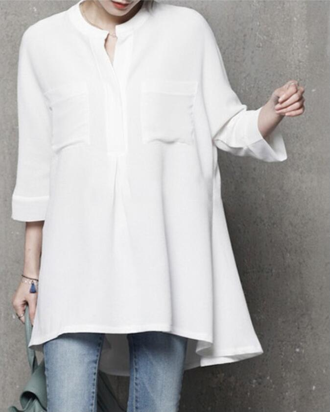 Noir Coréenne Pour Femme Hauts Top Longue Mode Bleu Chemisier b6yY7fgv