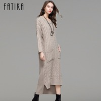 FATIKA Women Knitwear 2017 Autumn Winter Knitted Dress Front Short Back Long O Neck Casual Solid