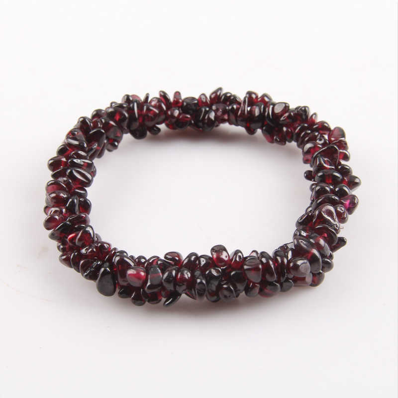 Natural Stone Crystal Garnet Bracelets Quartz Irregular Gravel Crystal Strand Bracelets For Women Jewelry