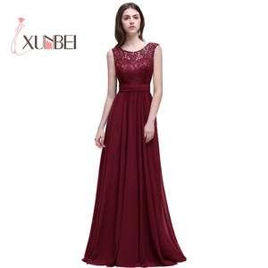d8a5c327c Dama de honor Robe Mariage A Line Navy Burgundy Lace Chiffon Bridesmaid  Dresses Long 2017 Cheap Prom Dresses Party Gowns