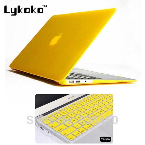 2на1 желтый матовая прорезиненные твердый переплет чехол ( 11 цветов ) + клавиатура чехол для Apple Macbook Air 13 13.3 дюймов бесплатная доставка