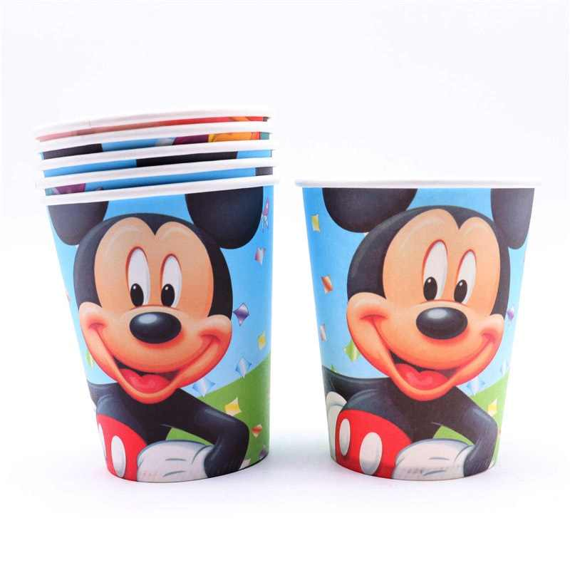 Mickey Mouse Decoration Boys Children Party Gift Disposable Napkin Paper Plate Cup Tableware Sets Birthday Party Home Decoration