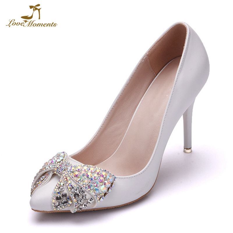 345b0c1282d ... Silver Wedding shoes Graduation Party Dancing. US  50.39. AB Crystal  Bowtie High Heel Shoes Pointed Toe Women Pumps White Color Bomba de las  mujeres