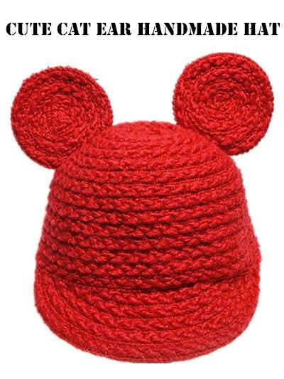BomHCS  Cute Korean Style 100% Handmade Crochet Hat Women Winter Warm Knitted Beanie Cap Cat Ear Baseball Cap bomhcs cute big flower beanie winter lady s warm crochet knitted hat 10