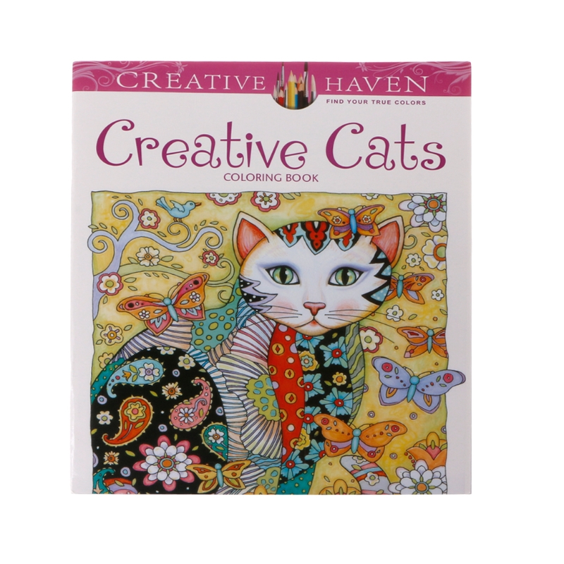 2019 New 24 Pages Creative Cat Coloring Book Kill Time Painting Drawing Book For Children