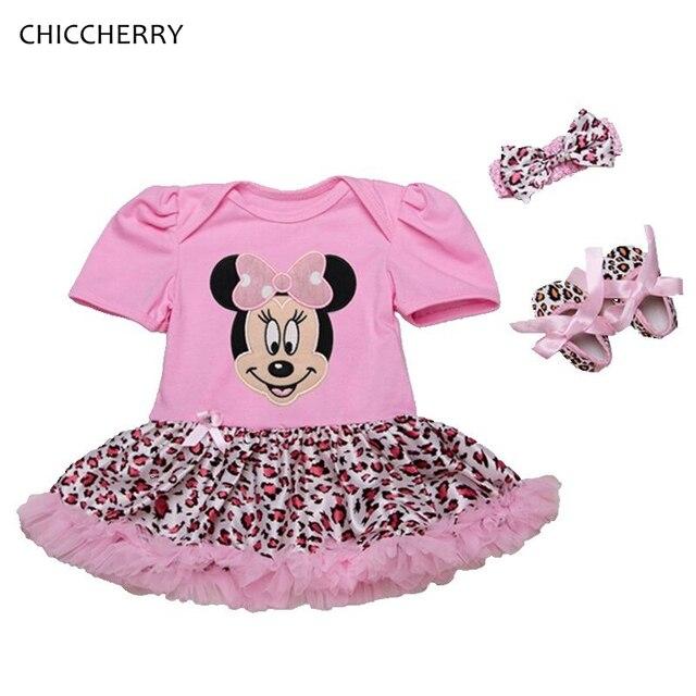 8efbbd36a7f52 Fantasia Minnie vêtements pour bébé filles Petti barboteuse robe bandeau  chaussures nouveau-né Tutu ensembles