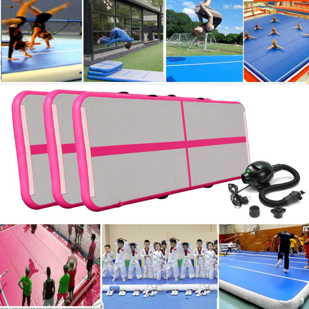 Gofun AirTrack 100x300x10cm Air Mats Sport Exercise Pad Inflatable Tumbling Track Gymnastics Training Pad With Air Pump gofun airtrack 10ft x 3 ft air tumbling track mat gymnastics exercise pad inflatable gym training mats balance beam 110v air