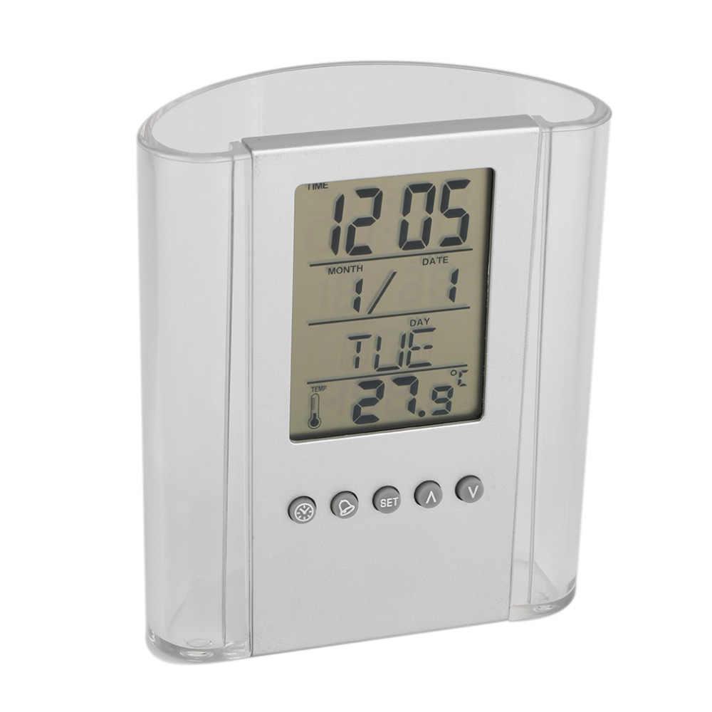 สีเทาและโปร่งใส ABS multi-ฟังก์ชั่นดิจิตอลปากกา/ดินสอ LCD นาฬิกาปลุกเครื่องวัดอุณหภูมิ & ปฏิทิน home Decor