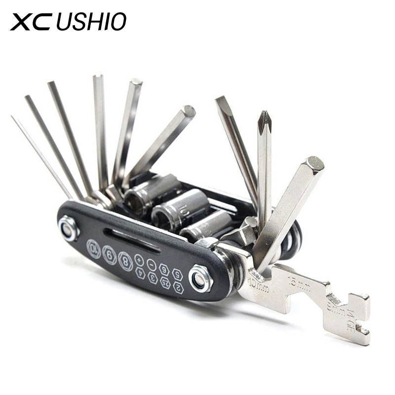 15 In 1 Multi Usage Bike Bicycle Repair Bike Tools Kit Hex Wrench Nut Tire Repair Hex Allen Key Screwdriver Socket Extension Rod