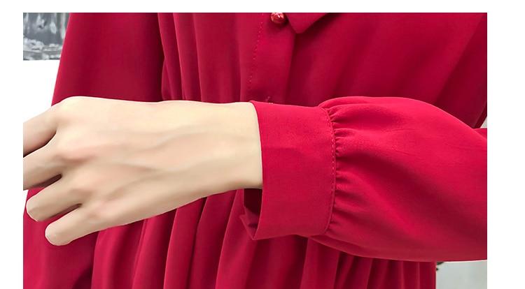 fashion bow collar women dresses party night club dress 2019 new spring long sleeve solid chiffon dress women clothing B101 6