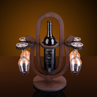 Creative Rotating hourglass style wood wine rack European fashion bar wine rack wine glass holder
