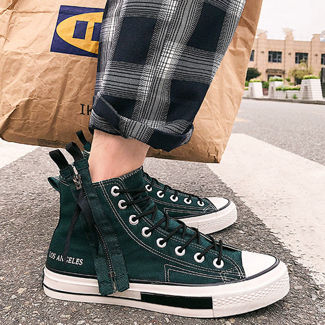 High Tops brand new fashion antumn breathable mens sneakers casual flats zip Boys shoes Male Lace-up Canvas shoes MD-04