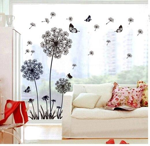 Dandelion Wall Art Dandelion Decor Black White Bedroom: Decorative Black Dandelion Flowers Wall Sticker Women