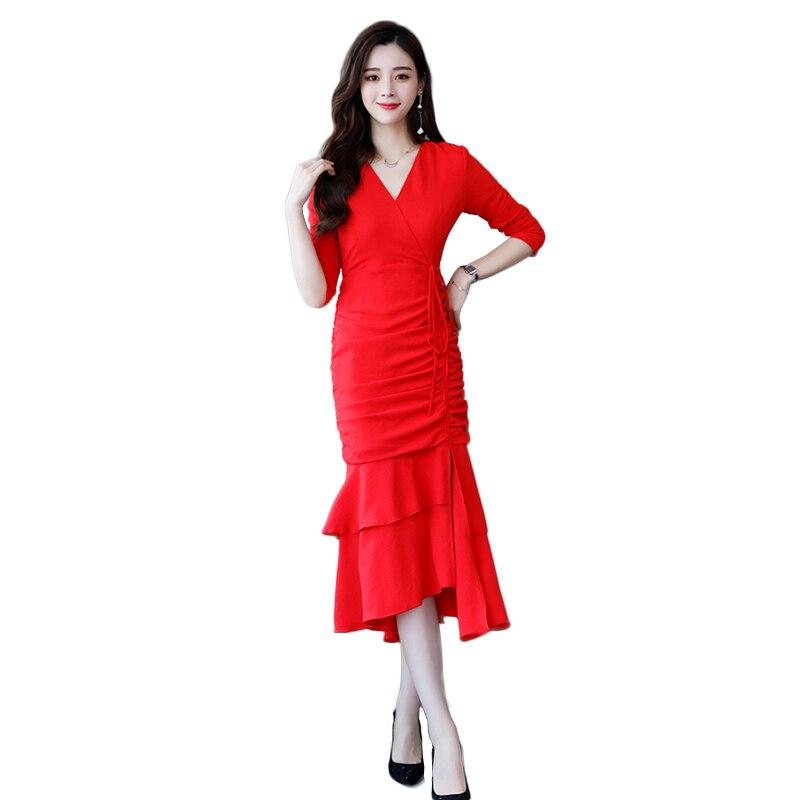 Et V Nouvelles Drapé Noir Femmes Rouge jaune Nw1136 corail Robe Mode 2019 rouge Fishtail Parti Printemps Sexy cou Automne Élégante Féminine De IT6fwW7qB