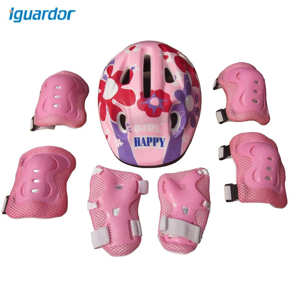 iguardor 7Pcs Bicycle Helmet Ice Skates Balance Car Protective Gear Helmet Set for 5-13 Year-old Children - Pink