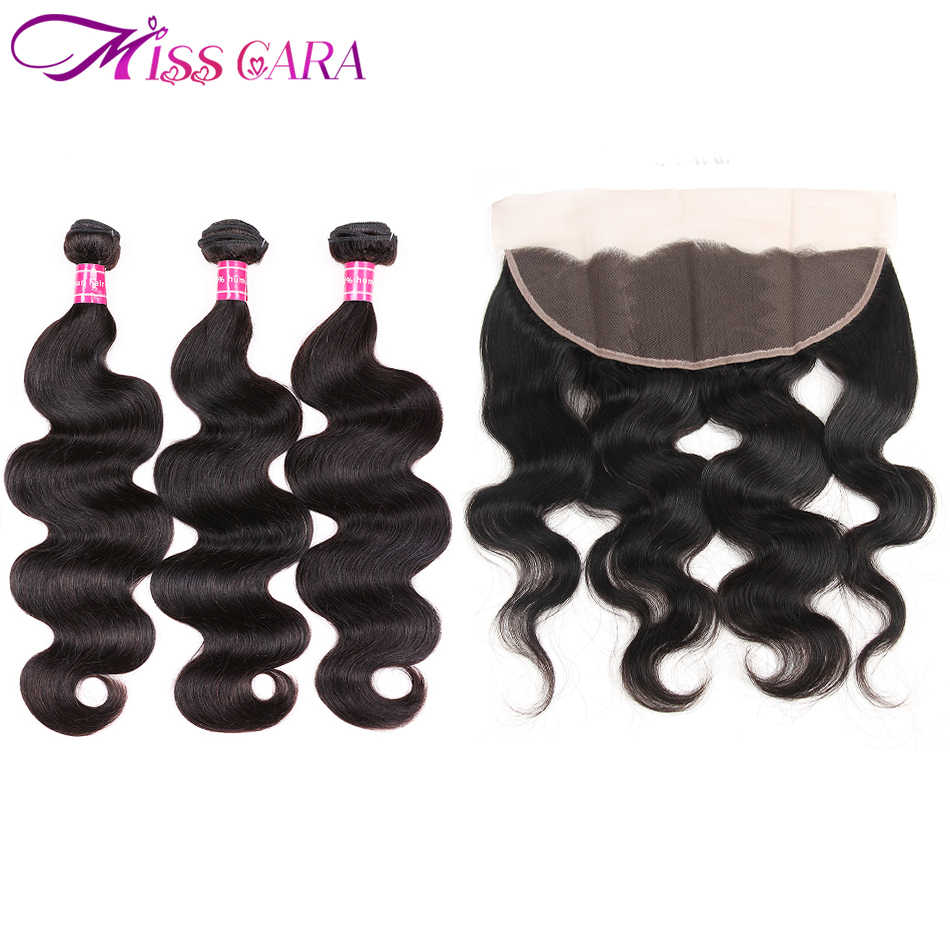 Бразильские объемные волнистые 3/4 пучков с закрытием кружева фронтальное Закрытие с пучками Miss Cara 100% Человеческие волосы remy волосы ткет