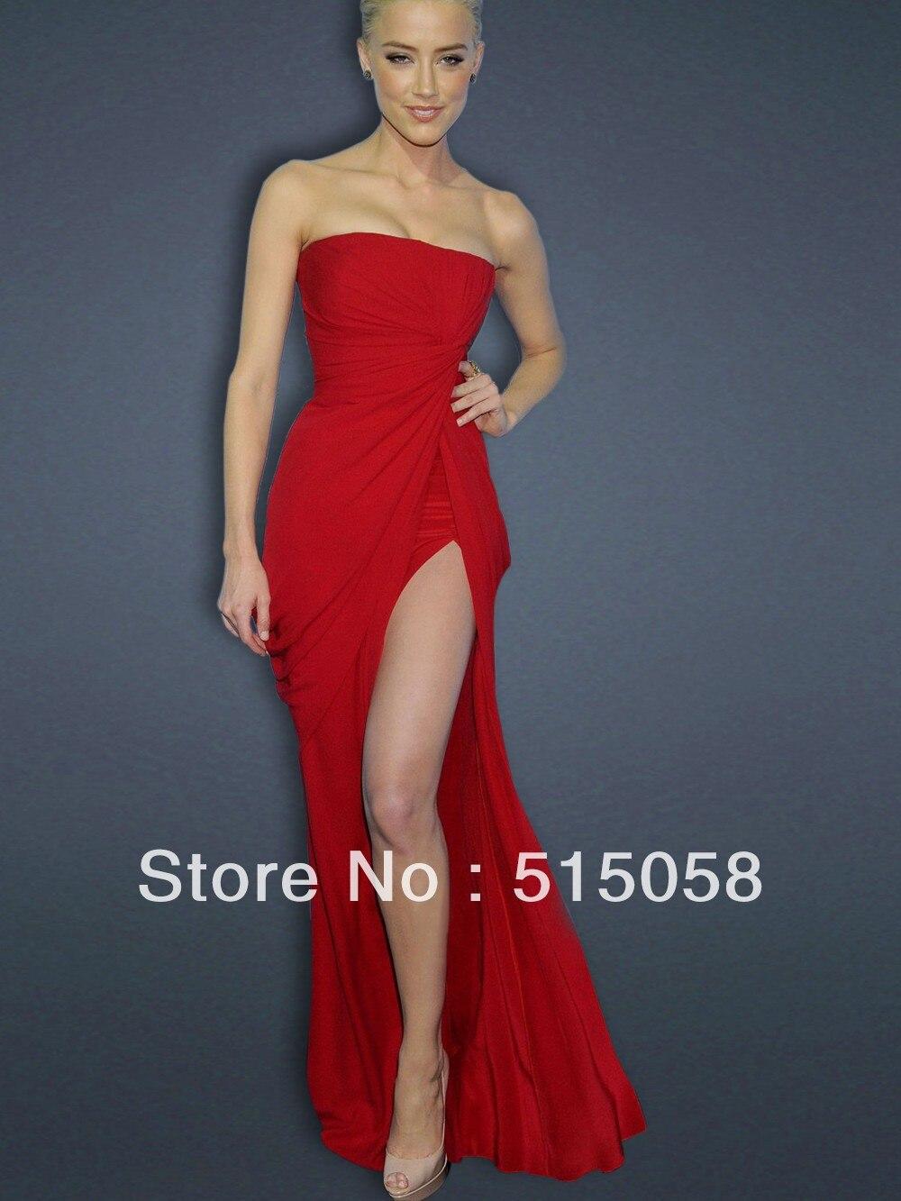 Cheap Chiffon Long High Slit Celebrity Dresses Red Carpet Gowns 2014 ...