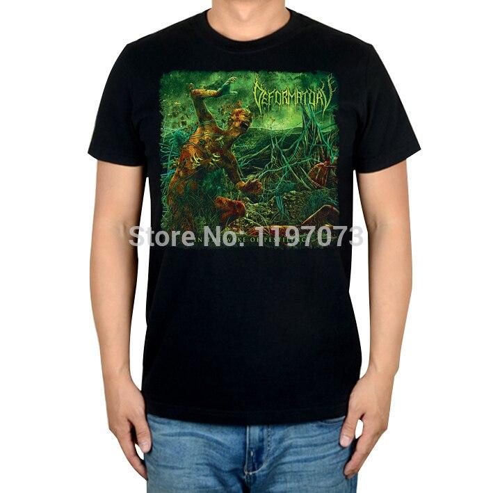 Free shipping Image of DEFORMATORY - In <font><b>the</b></font> Wake of <font><b>Pestilence</b></font> album cover men's blackhard rock T-Shirt