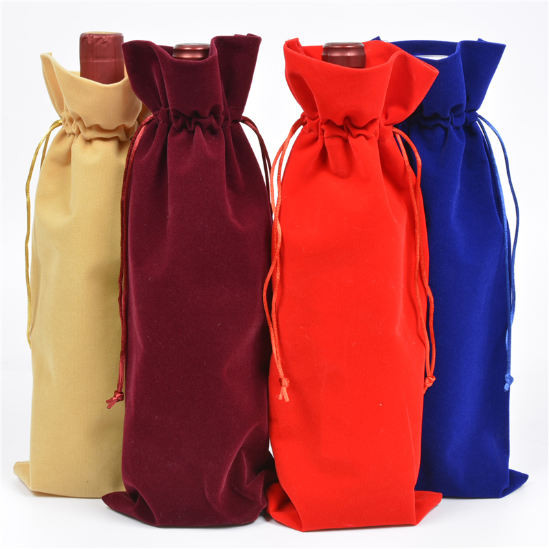 Velvet Wine Bottle Covers Drawstring Bags For Wedding Party Red Wine Champagne Storage Christmas Gift Bag Flannel Packing Pouch in Jewelry Packaging Display from Jewelry Accessories