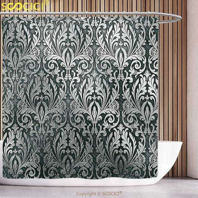 Decorative Shower Curtain Silver Metal Plate Graphic With Classic Floral Ornaments Medieval Empire Royal Engraved Print