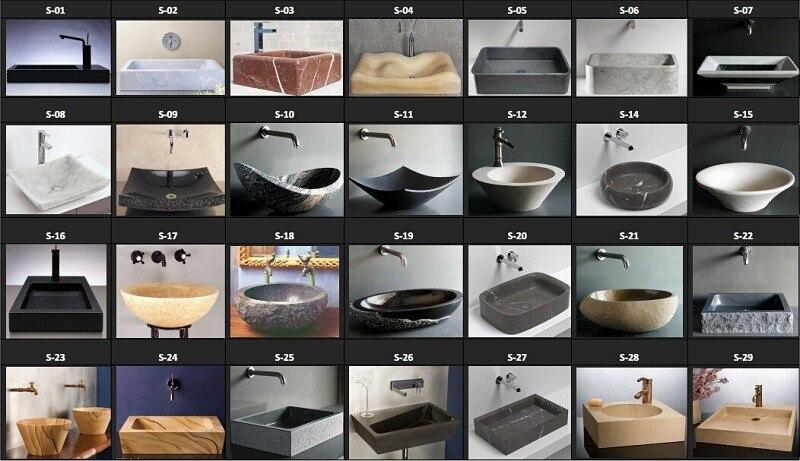 natuursteen vessel sink graniet met bruine vlekken oppervlak, Badkamer