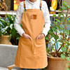 Long Yellow Canvas Apron Barista Cafe Bistro Bartender Catering Uniform Florist Carpenter Painter Gardener Craft Work