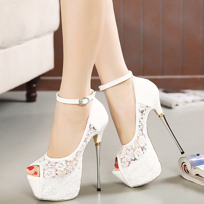 White Lace Flower Wedding Shoes Slip On Round Toe Bridal Shoes High Heel Women Pumps Shallow Round Toe 8Cm