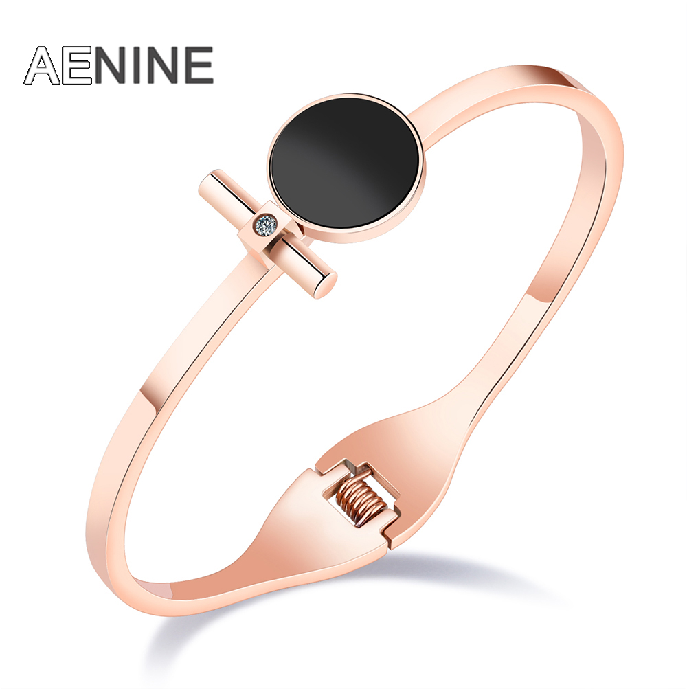 AENINE Classic Black Round Cross Rod Spring Opening Rose Gold Color Bangles For Women St ...