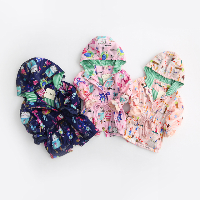 Baby Girls Fashion Casual Outerwear Kids Spring Autumn Children Clothing Hooded Collar Character Bear Clothes Coats 6pcs/LOT