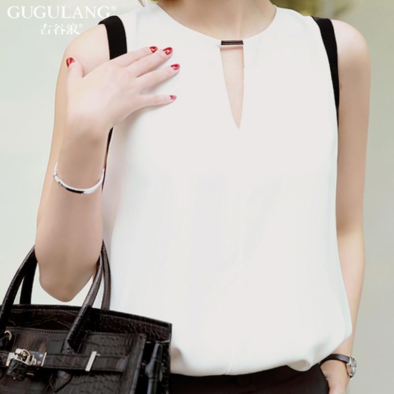 GUGULANG 2017 Summer Chiffon Thin V-Neck Black White Sleeveless Shirt Elegant Sexy Womens Blouses Tops Shirt XS/S/M/L/XL