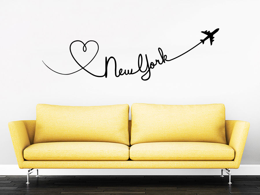 2017 New York Quote Travel Wall Decal Love Planes Wall Stikcer Bedroom Romantic Living Room Wall Decal Kid Removable Vinyl LA128