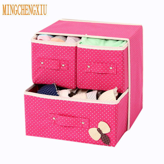 Two Tier 3 Drawer Foldable Bra Storage Box Closet Drawer Cases For Clothes  Intimate Bra