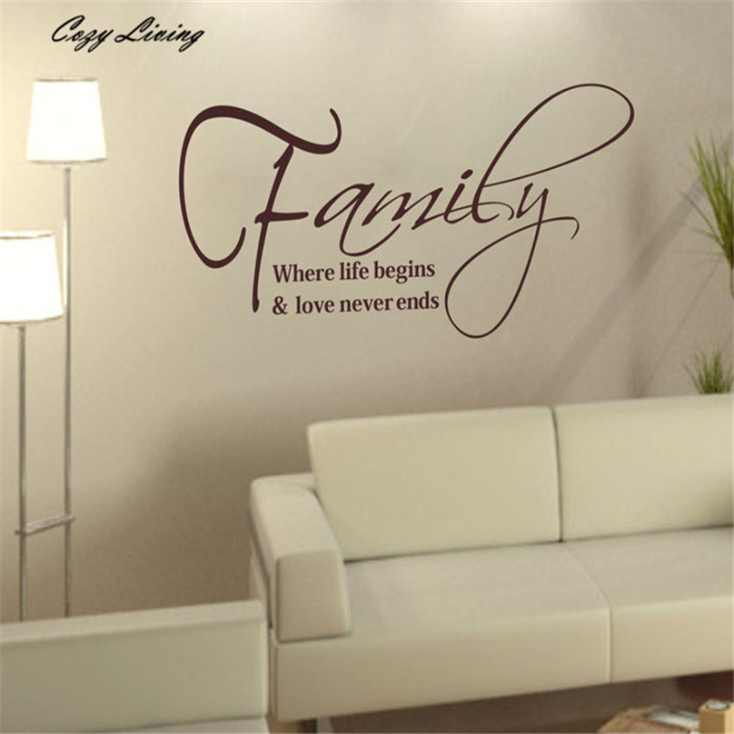 wall sticker quotes 57x30cm family fashion creativity peel and stick