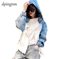 2019 New Autumn Women Jacket bat sleeve Loose Casual Windbreaker Hooded Women Denim stitching Coat