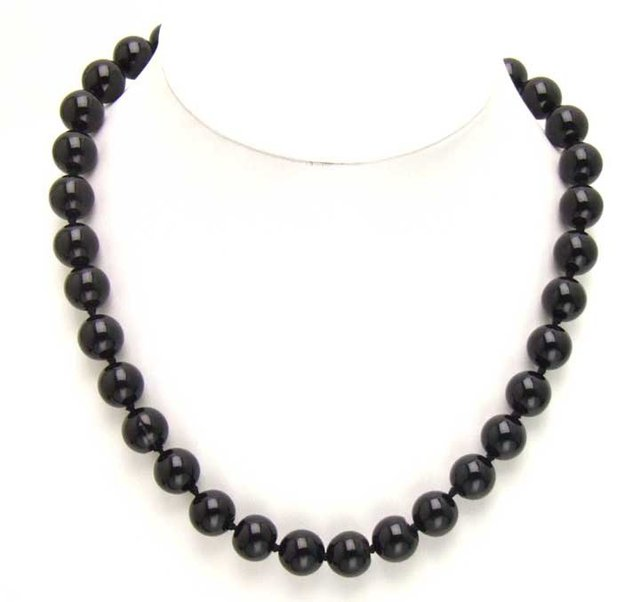 SALE High luster Big 16mm Black round agate 18 inch necklace-5276 wholesale/retail Free shipping