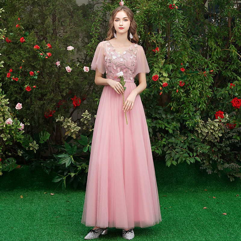 Image 5 - Beauty Emily Long Grey Bridesmaid Dresses 2019 Long for Women Sweep Train Vestidos Para Festa A line  Wedding Party Prom Dress-in Bridesmaid Dresses from Weddings & Events