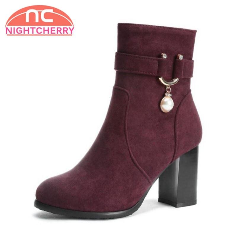 2f454e0f86 NIGHTCHERRY Plus Größe 34-48 Frauen Schuhe Hohe Ferse Stiefeletten Herbst  Winter Schuhe Zipper Perlen
