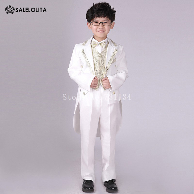 Kids Prom Black White Tail Suit Outfits Wedding Suits for Boys Child Formal  Clothing Sets 6 Pieces 04b76baa21ce