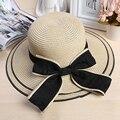 Лето женский стиль Вс Hat Моды Складной Соломенные Шляпы Женская Мода Пляж Головные Уборы Повседневная Дамы бантом шляпа Для Девочек 1869